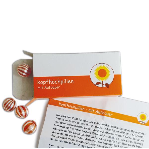 liebeskummerpillen Kopfhochpillen: Orangenbonbons mit lustigem Beipackzettel in einer netten Geschenkschachtel.