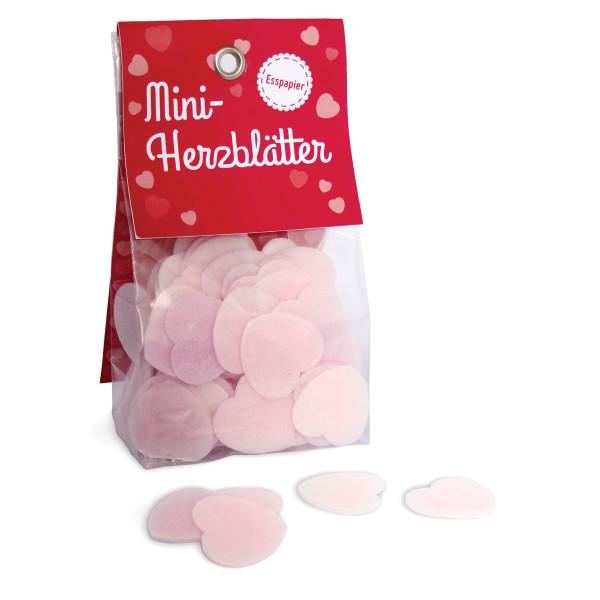 liebeskummerpillen Mini-Herzblätter aus Esspapier in kleiner Geschenkverpackung.