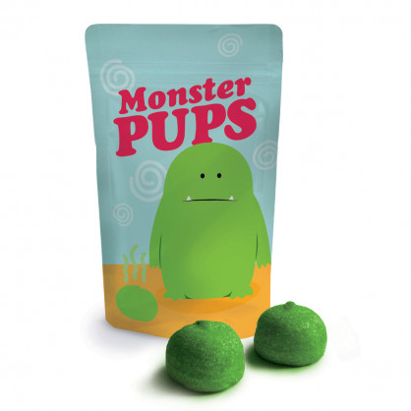 Monsterpups von liebeskummerpillen - Verpackung mit Monstermotiv gefüllt mit grünen Marshmallows.