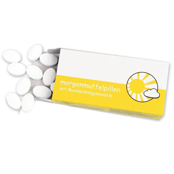 liebeskummerpillen Morgenmuffelpillen: Pfefferminzpastillen mit Beipackzettel für Mundwinkelgymnastik.