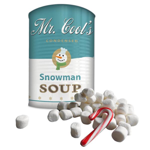 Mr. Cools Snowman Soup von liebeskummerpillen: Mini Marshmallows und eine Zuckerstange in einer tollen Blechdose.