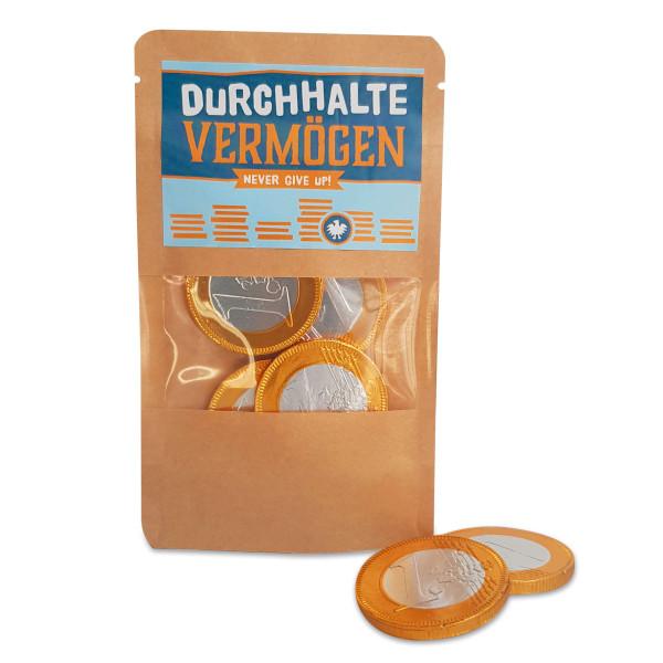 Durchhaltevermögen von liebeskummerpillen: 22g leckere Schokoladen Münzen für mehr Durchhaltevermögen.
