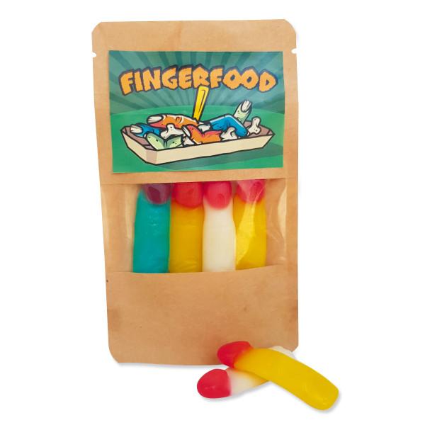 Naschtüte Fingerfood: 30g leckere Fruchtgummifinger in giftigen Farben von liebeskummerpillen. Geschenk zu Halloween, für die Schultüte, ...
