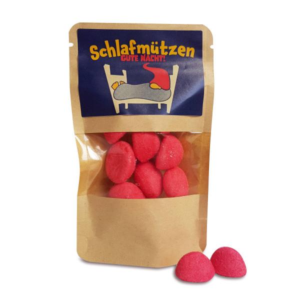 Für Schlafmützen kommt hier der kleine Engerieschub im Naschtütchen - 20 g Schaumzucker mit Erdbeergeschmack.