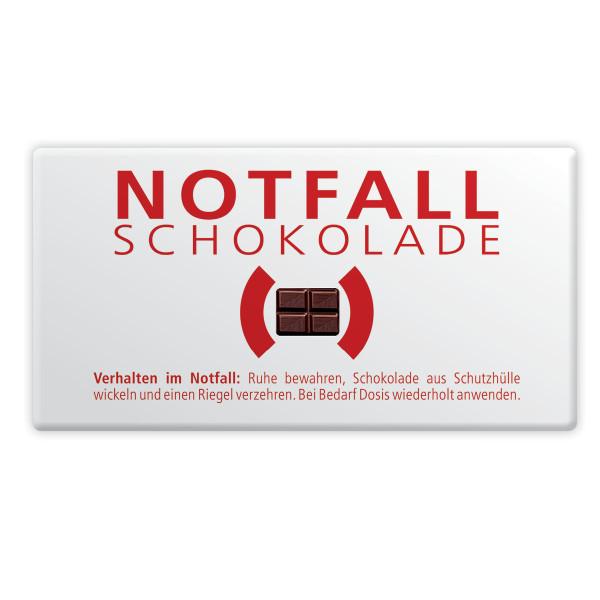 Mini Schokoladentafel Notfallschokolade von liebeskummerpillen in der Verpackung.