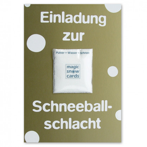 liebeskummerpillen Postkarte Einladung zur Schneeballschlacht: goldene Postkarte mit Magic Snow Schneepulver.