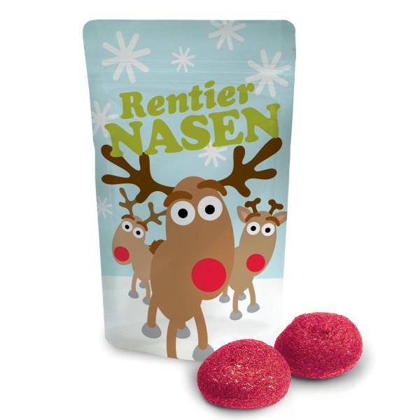 Rentier Nasen von liebeskummerpillen: kleine Tüte mit Rentiermotiv, gefüllt mit 2 roten Marshmallows.