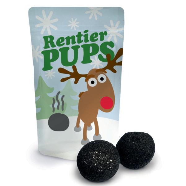 Rentier Pups von liebeskummerpillen: kleine Tüte mit Rentiermotiv, gefüllt mit zwei schwarzen Marshmallows.