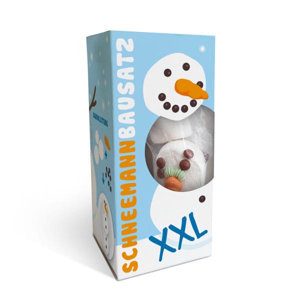 Schneemann Bausatz XXL von liebeskummerpillen. Schachtel mit XXL-Marshmallows, Schokolinsen und Zuckermöhre.