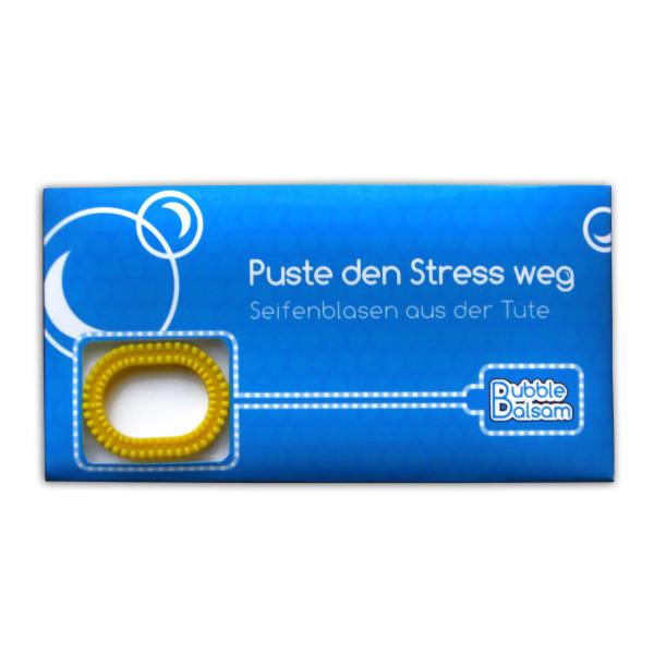 liebeskummerpillen Seifenblasen Puste den Stress weg - Mini Tüte mit Seifenblasenflüssigkeit und Seifenplasen-Pustering.