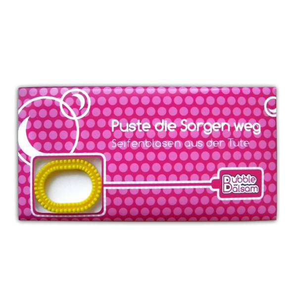liebeskummerpillen Seifenblasen Puste die Sorgen weg - Mini Tüte mit Seifenblasenflüssigkeit und Seifenplasen-Pustering.