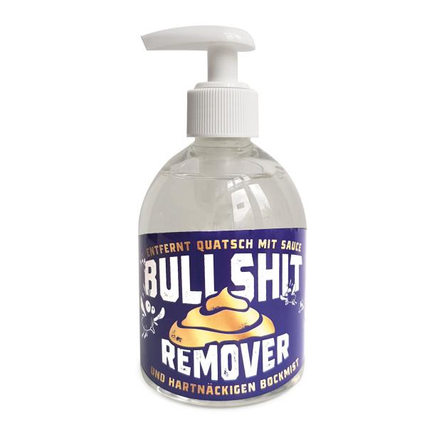 Der lustige Seifenspender BULLSHIT REMOVER von liebeskummerpillen entfernt jeden Dreck und auch Bullshit! Cremseife 250 ml im Seifenspender mit witzigem Cover.