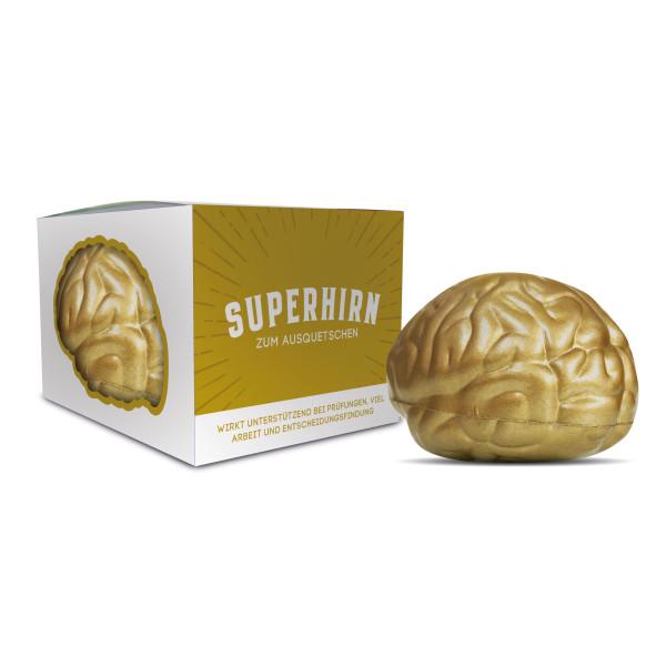 Superhirn - Knautschgehirn zum Ausquetschen - Gehirn in gold aus Schaumstoff - liebeskummerpillen