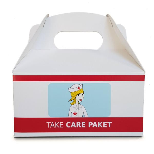 Liebeskummerpillen Geschenkbox Tragebox - Take Care groß. Nette Verpackung für Süßigkeiten, ... - Hilfspaket.