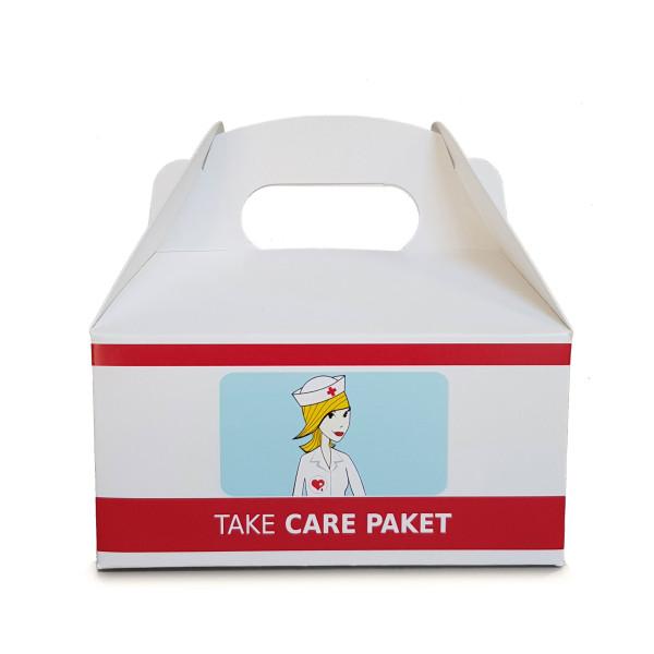 Geschenkbox Tragebox - Take Care Paket von liebeskummerpillen. Nette Verpackung für Süßigkeiten, ... - Hilfspaket.