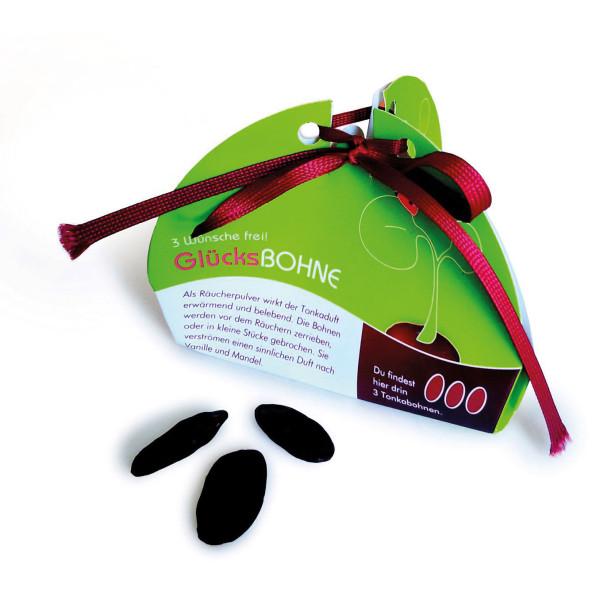 Wunschbohne von liebeskummerpillen: die Glücksbohne ist ein Glücksbringer in Form von drei Tonkabohnen in netter kleiner Geschenkschachtel.
