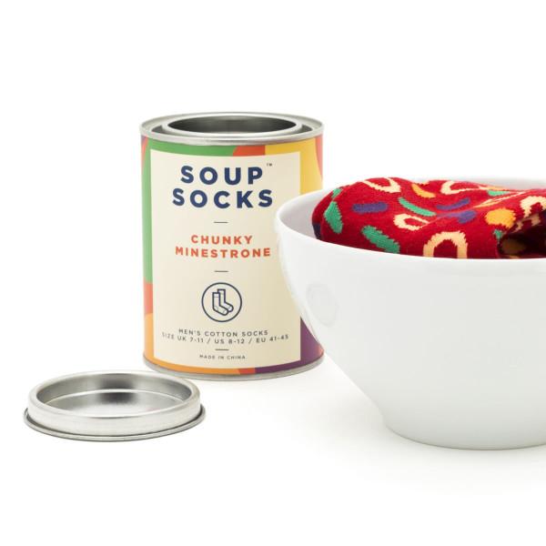 Soup Socks von Luckies Design - rote Suppen Socken, geliefert in der Dose - Geschmacksrichtung Minestrone .