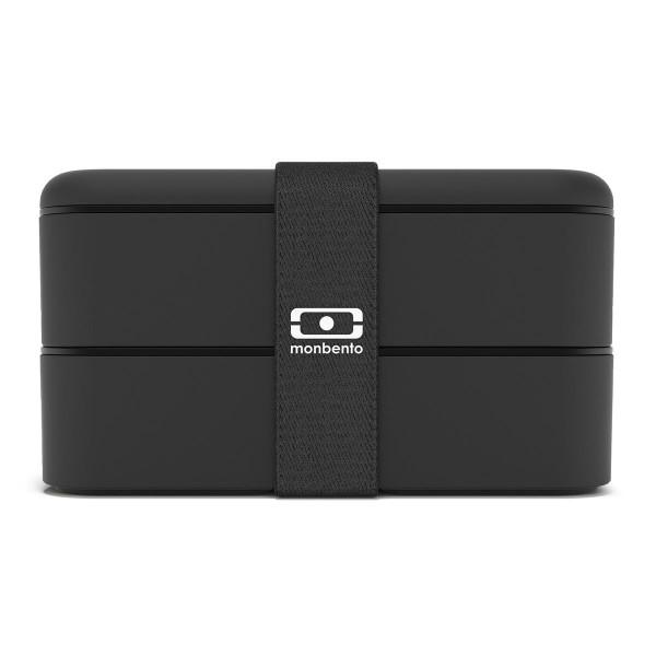 MB ORIGINAL Lunchbox von monbento in schwarz. Doppelstöckige Bento Box mit Gummiband. Auslaufsicher, BPA-frei, ...