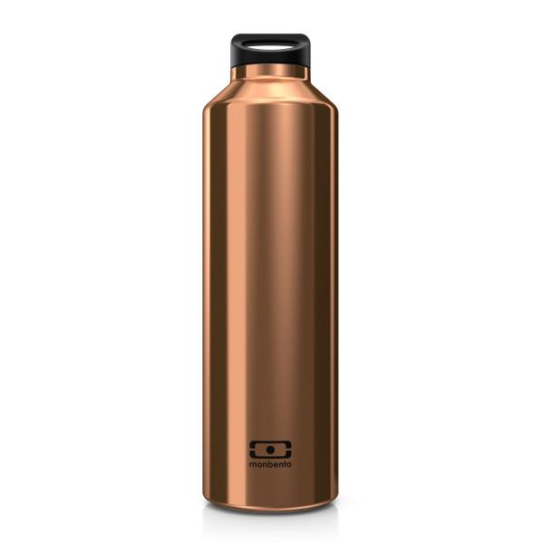 Die MB STEEL Thermosflasche mit Teefilter von monbento. Die doppelwandig isotherme Trinkflasche in kupfer.