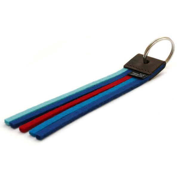 true colors: der stabile Schlüsselhalter mit Schlüsselring und farbigen Filzstreifen in Blautönen! Filz Schlüsselanhänger - Made in Germany