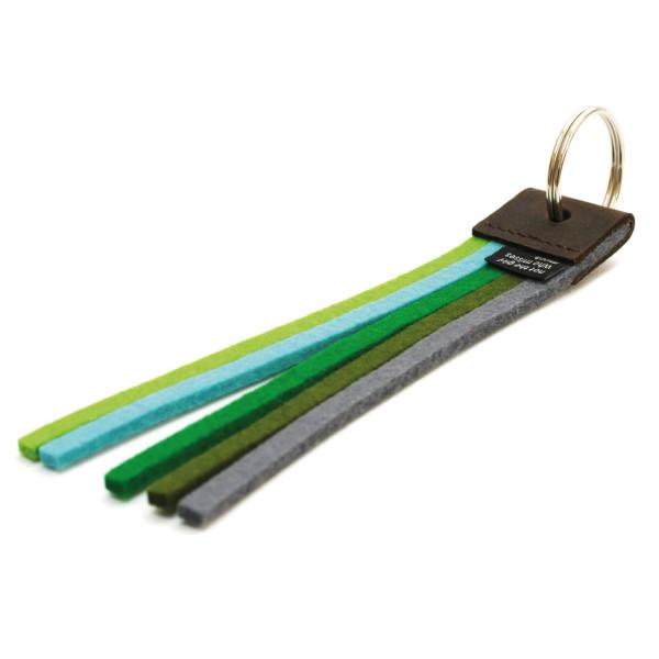 Schlüsselanhänger True Colors, Filz green colors - Regenbogen Farben - grüntöne - Design Schlüsselhalter aus Leder und echtem Wollfilz - not the girl who misses much - Made in Germany