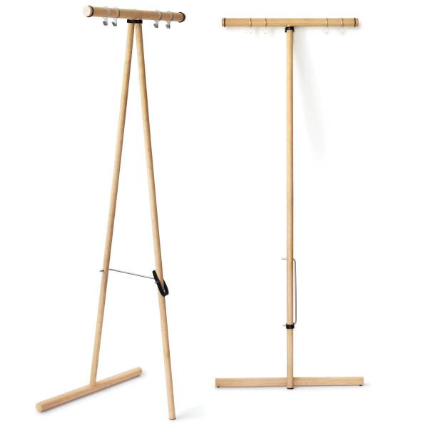 Universell einsatzbare Garderobe TimTom von side by side aus Eichenholz - einfach zusammenklappbar.