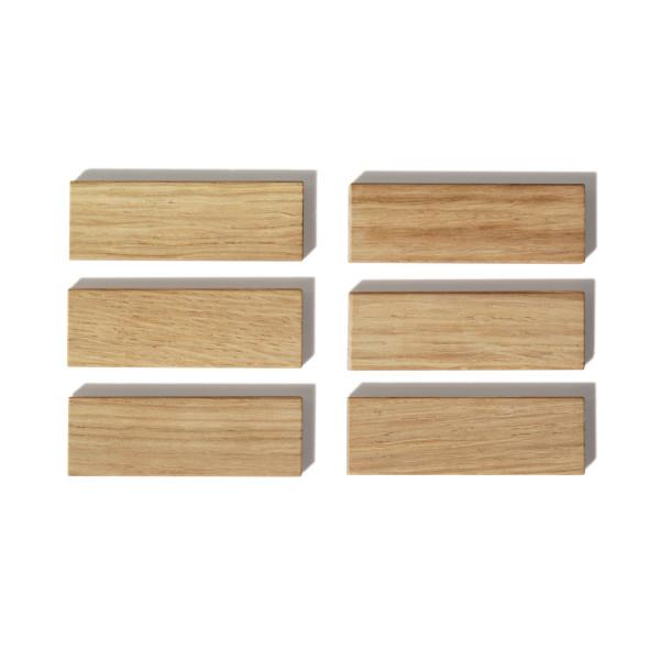 Holzmagnete aus Eiche - Modell: PUR - side by side Design - 6er Set