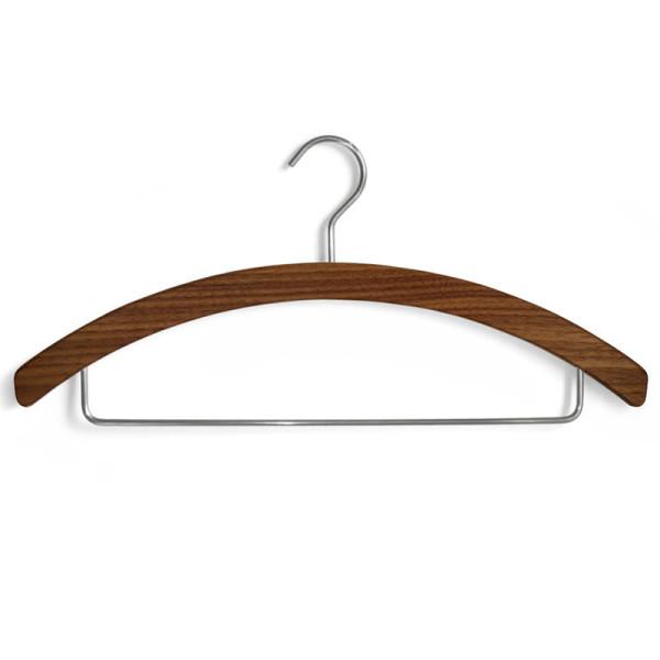 Hosenbügel Barny aus massivem Nussbaumholz mit Hängehaken und Hosenhalter aus Edelstahl.