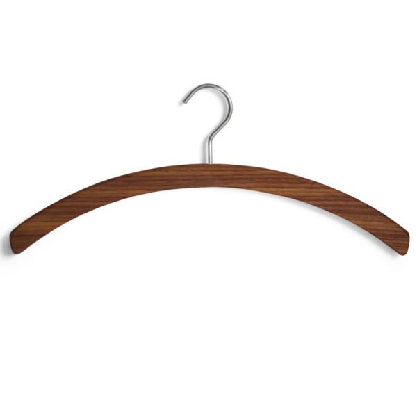 Kleiderbügel Barny aus massivem Nussbaumholz mit Hängehaken aus Edelstahl.