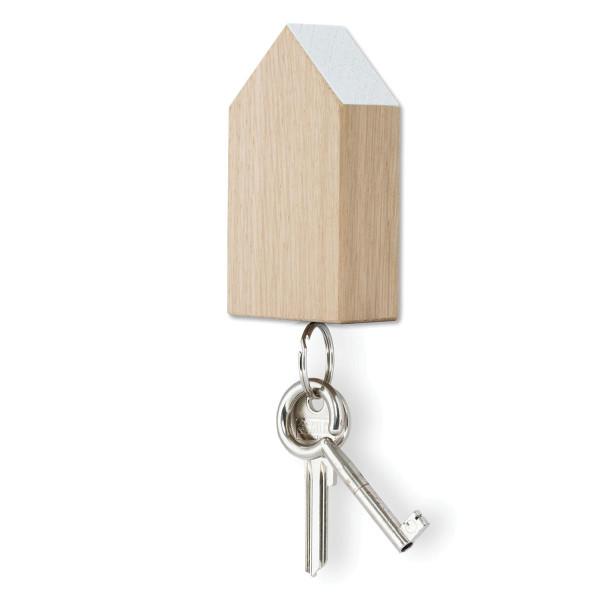 Schlüsselhaus magnetic aus Eiche mit weißem Dach von side by side.