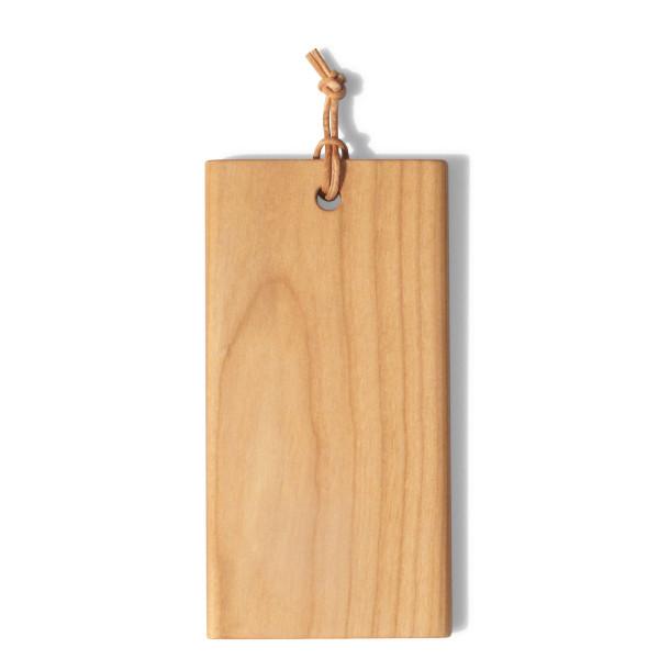 Mini Schneidebrett mit Lederband - Tiny von side by side design - Kleines Holzbrettchen aus Kirschbaumholz.