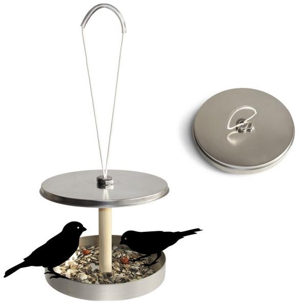Vogelhaus Birdi to go von side by side: Vogelhäuschen in der Blechdose mit Aufhängung und Vogelfutter.