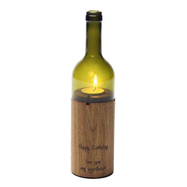 WeinLicht mit Wunschgravur, grünglas