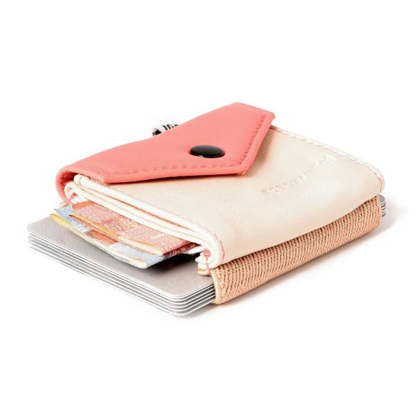 Mini Geldbeutel - kleine Geldbörse aus Leder - Space Wallet PEAK, beige - rosé apricot
