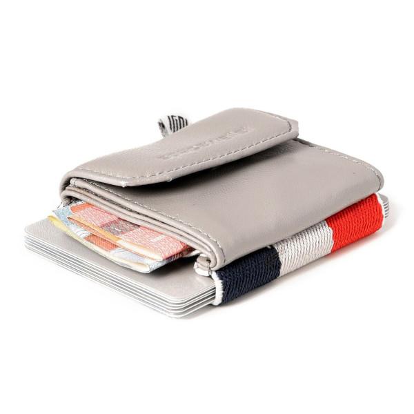 Mini Geldbeutel Space Wallet Push CASANOVA grau. Mit gestreiften Gummizugband für Kreditkarten. Kleine Mini Geldbörse für Kleingeld, Geldscheine und Kreditkarten.