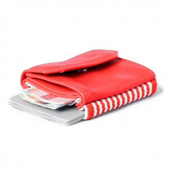 Roter Mini Geldbeutel von spaceproducts - Modell Space Wallet Push Vegan - Kleine Geldbörse aus Kunstleder in rot