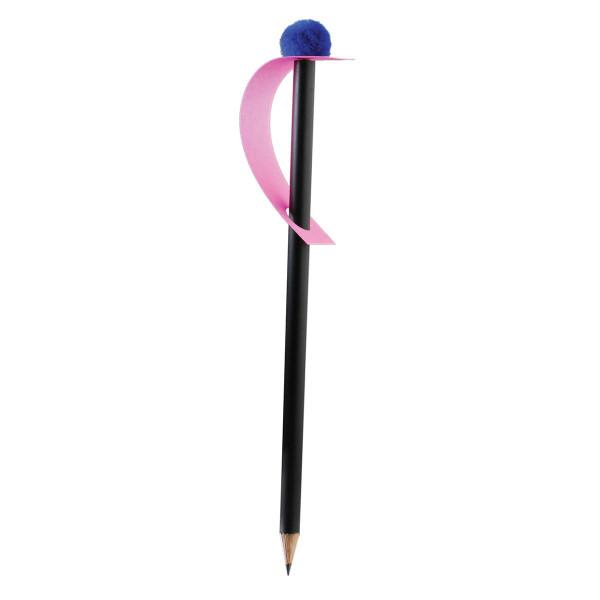 Bleistift mit Pompon-Magnet, dunkelblau