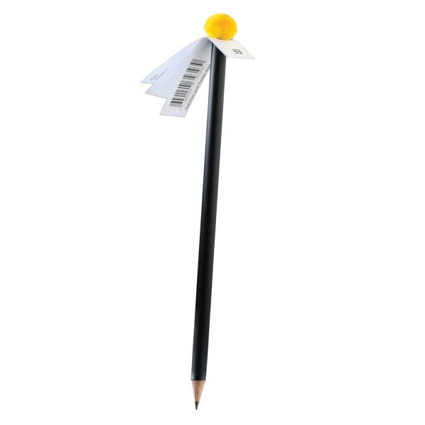 Bleistift mit Pompon-Magnet, gelb