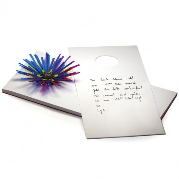 Notizblock zupf, mit Papierblume blau auf Saugnapf