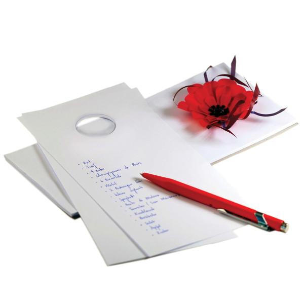 Notizblock zupf, mit Papierblume rot auf Saugnapf
