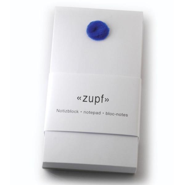 Notizblock zupf, mit Pompon blau