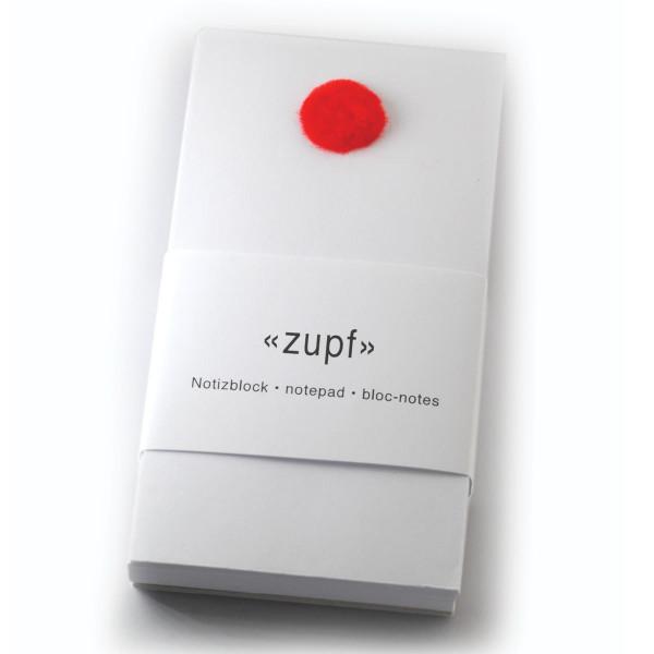 Notizblock zupf, mit Pompon rot
