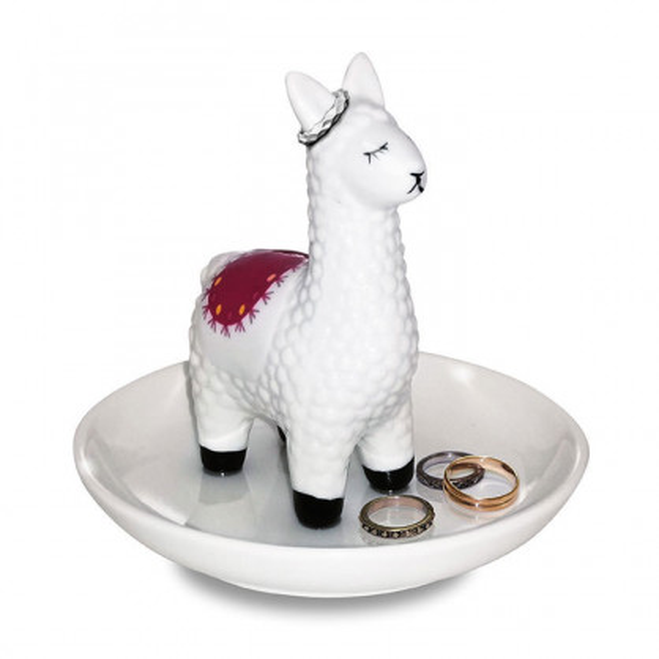 Ringhalter / Schmuckteller Lama von winkee. Porzellanteller für Ringe und Schmuck mit dekorativen Lama. Schmuckschale.