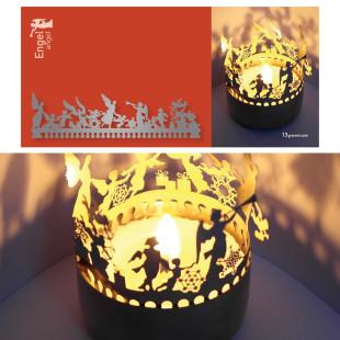 Engel Schattenspiel für Teelicht, Stecksilhouette auf Postkarte