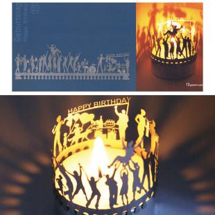 Geburtstag Teelicht-Silhouette auf Postkarte