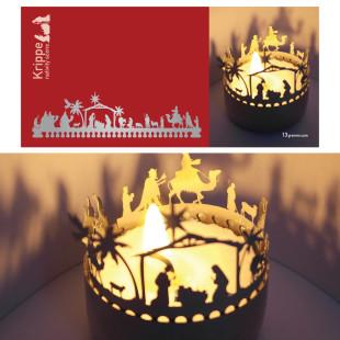 Krippe Orient Schattenspiel für Teelicht, Stecksilhouette auf Postkarte