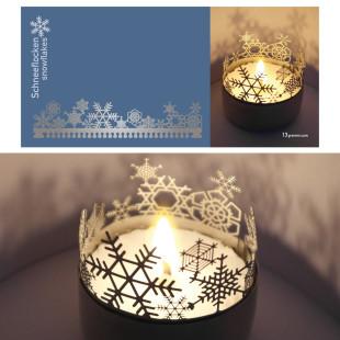 Schneeflocken Schattenspiel für Teelicht, Stecksilhouette auf Postkarte