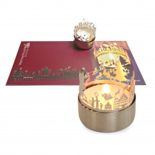Weihnachtszeit Schattenspiel für Teelicht, Stecksilhouette auf Postkarte