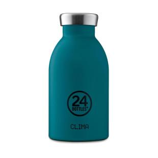 Thermosflasche CLIMA in stone atlantic blue: doppelwandige Trinkflasche 0,33 l aus Edelstahl im handlichen Format. > auslaufsicher > + 24 h kalt oder 12 h heiß > BPA-frei