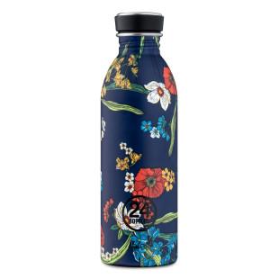 24Bottles Trinkflasche 0,5 l URBAN Edelstahl - Denim Bouquet. Edelstahl-Trinkflasche mit Blumenprint, auslaufsicherer Schraubdeckel, BPA-frei ...